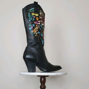 Leather Boots Snip Toe Embroidered Black Size 8